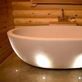log cabin stone bath suffolk