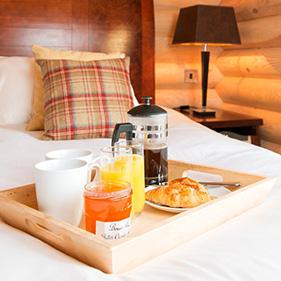 breakfast in bed log cabin suffolk