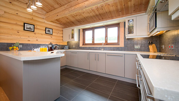 log cabin kitchen suffolk escape holiday